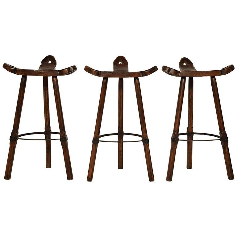 Set of Three Brutalist Spanish Bar-Stools, 1970s