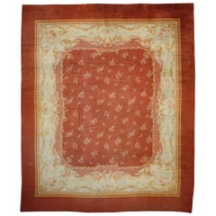 Large Antique French Savonnerie Rug with European Charm