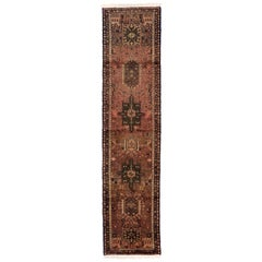 Vintage Persian Heriz Runner with Traditional Style, Narrow Hallway Runner