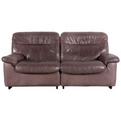 De Sede DS 66 Designer Sofa Brown Leather Two-Seat Couch