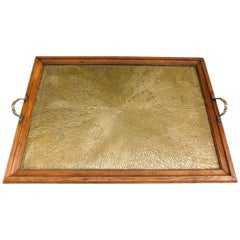 1920's Belgian Brass and Oak Art Deco Tray with Sunburst Design