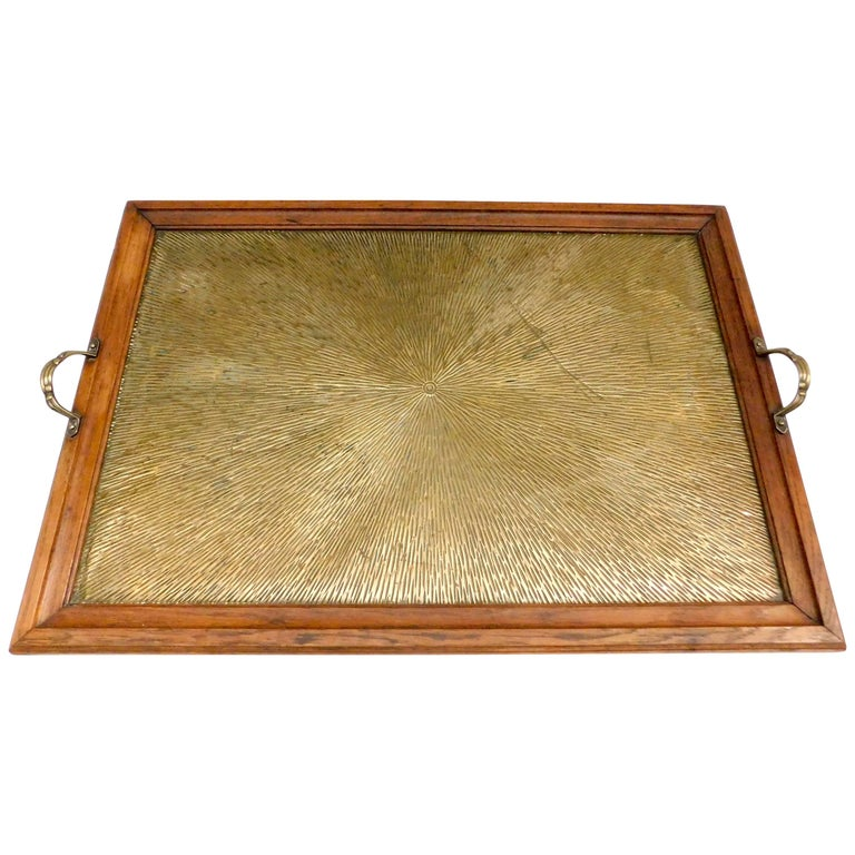 1920's Belgian Brass and Oak Art Deco Tray with Sunburst Design For Sale