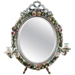 French Porcelain Mirror with Barbotine Floral Decoration in Meissen Style