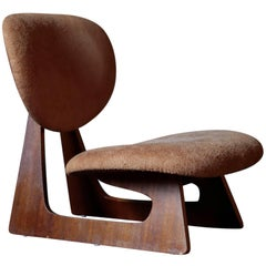 Lounge Chair Designed by Junzo Sakakura for Tendo Mokko with Case Leather