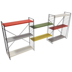 Vintage Iconic Tomado Holland Freestanding Shelving Designed by A. Dekker, 1950s