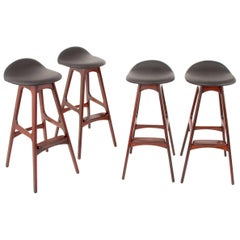 Up to Four Erik Buck Rosewood Bar Stools, Oddense Maskinsnedkeri, Denmark, 1960s