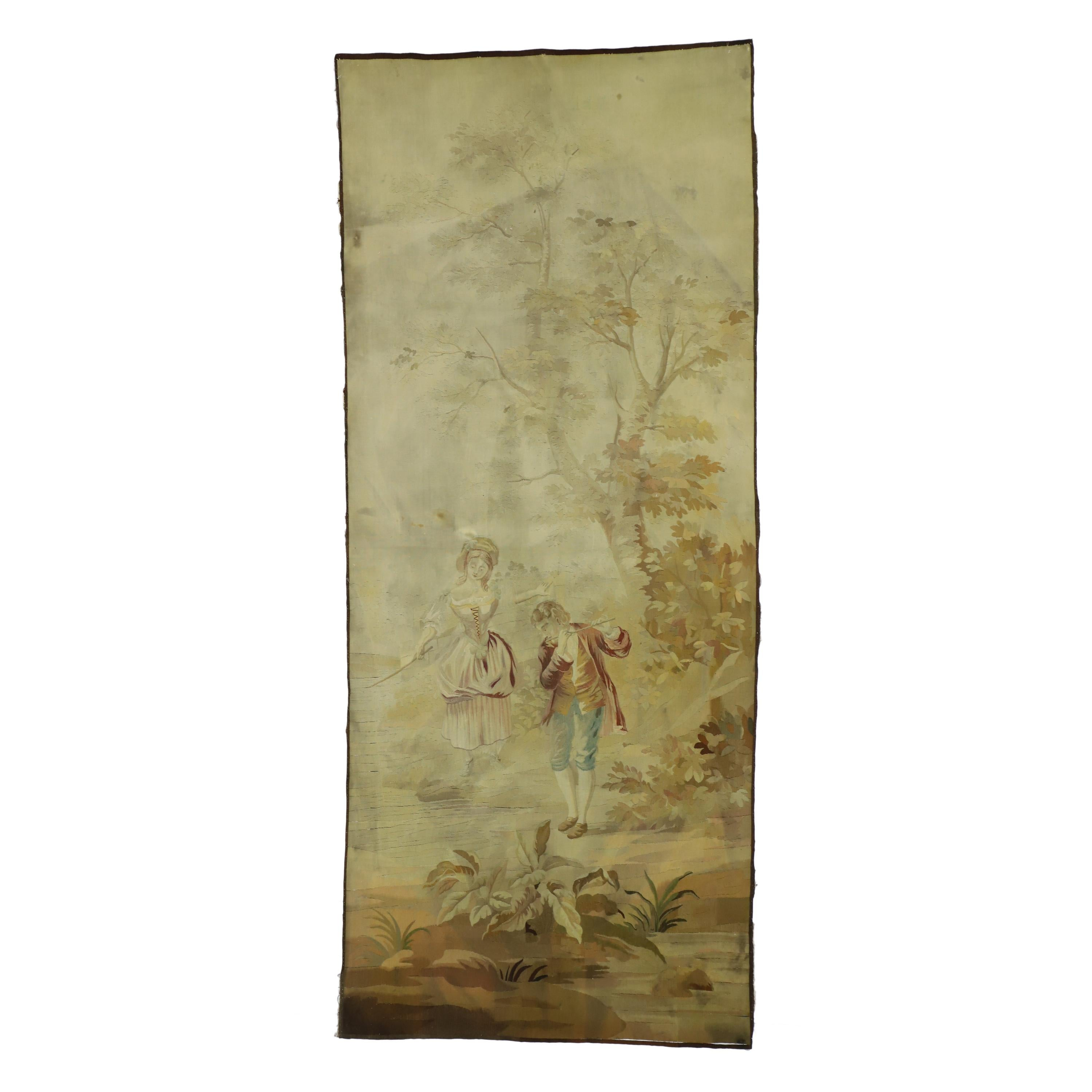 Antique French Rococo Romantic Pastoral Tapestry Inspired by Francois Boucher