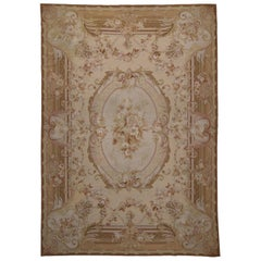 Vintage Portuguese Needlepoint Rug with French Aubusson Style