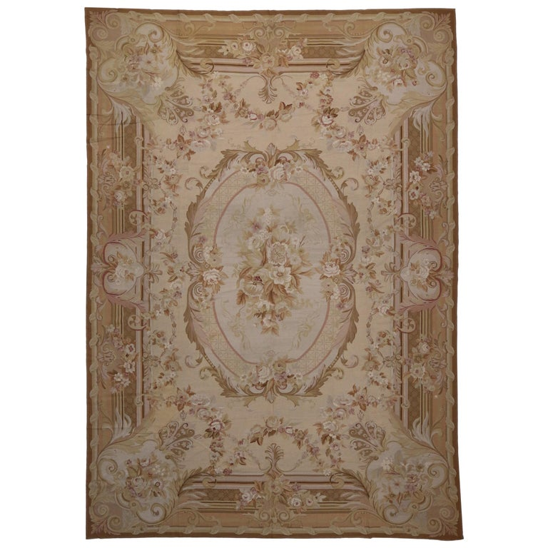 Vintage Portuguese Needlepoint Rug With French Aubusson Style For