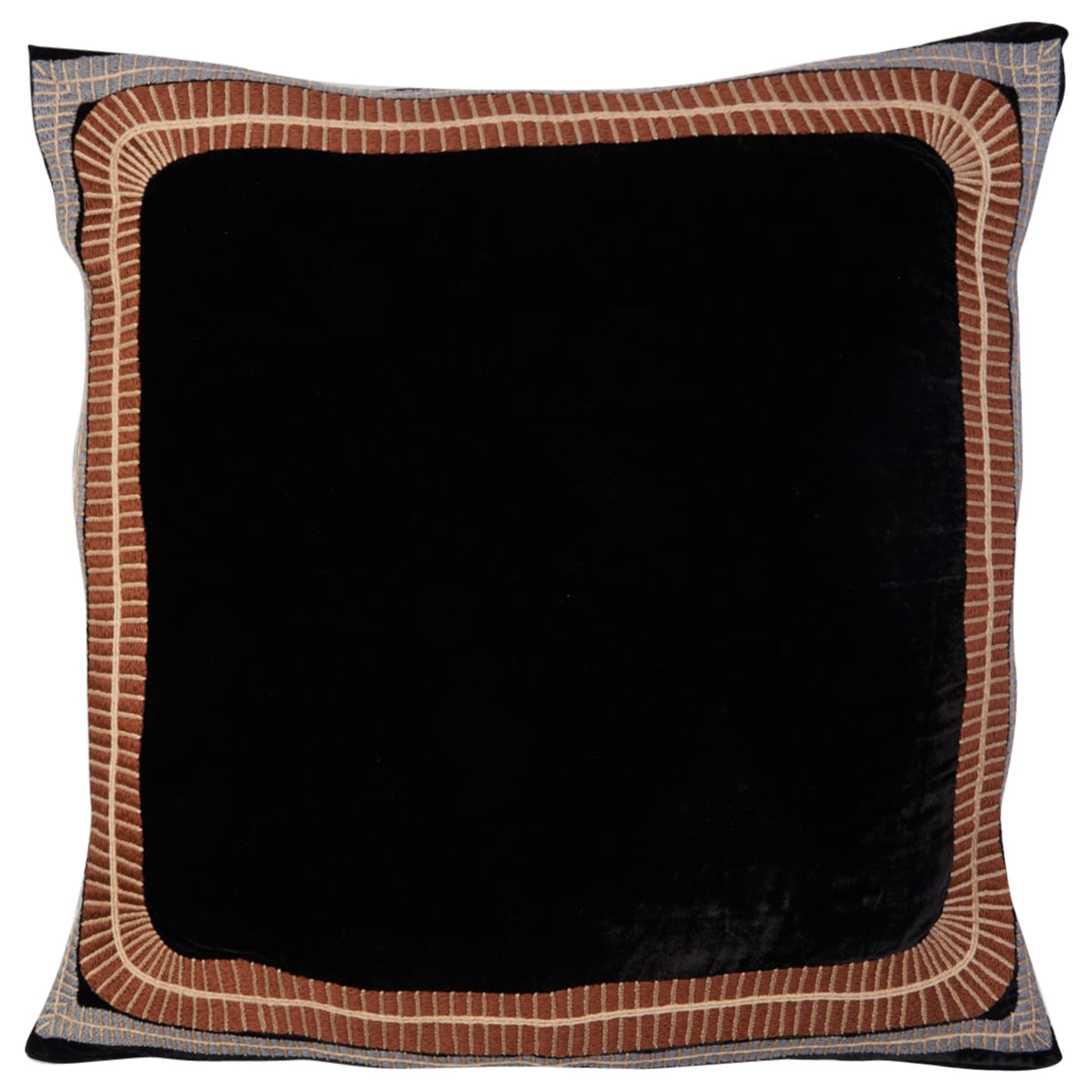Eksteen Hand Embroidered Black Velvet Pillow Cover
