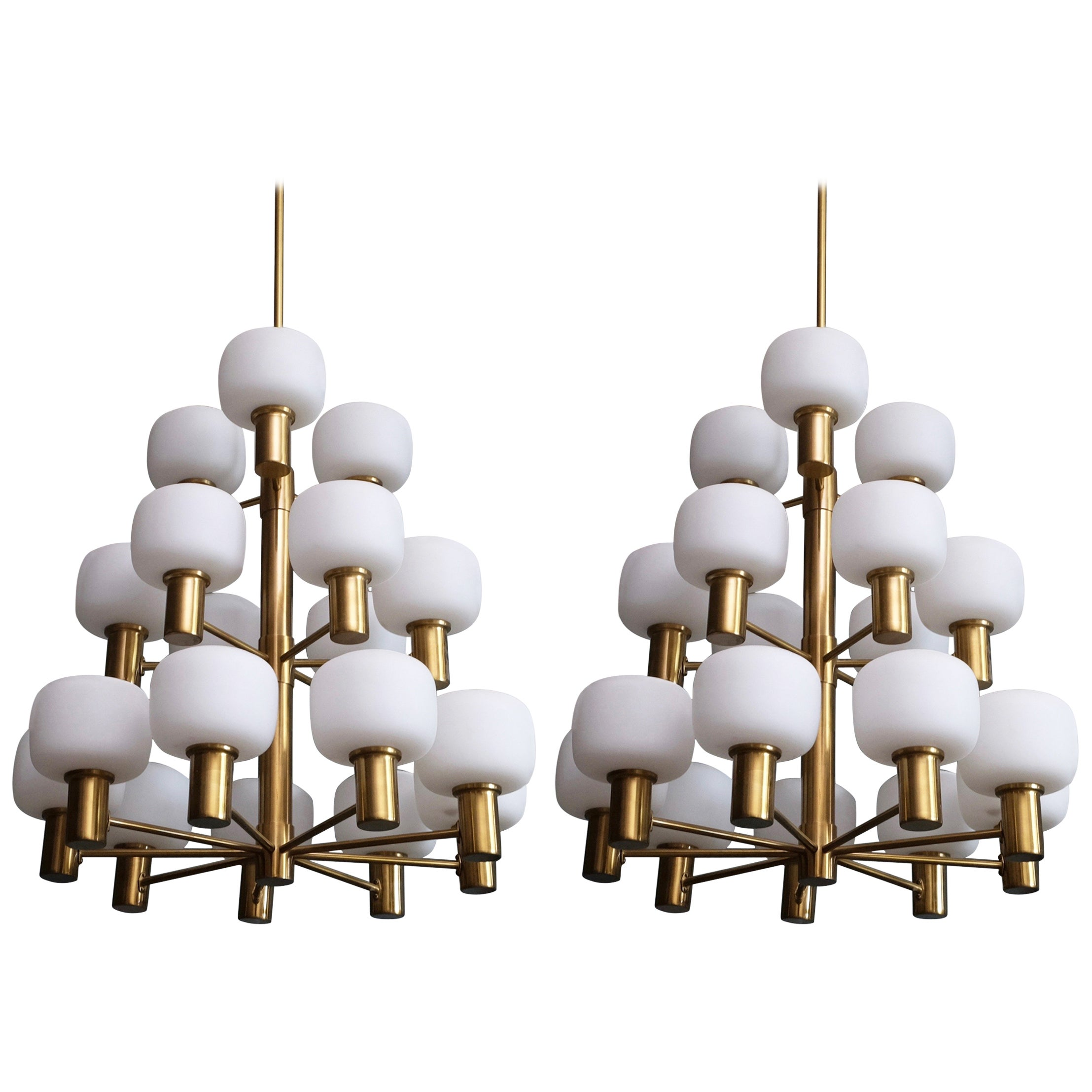 Pair of Swedish Brass Chandeliers by ASEA, 1950s