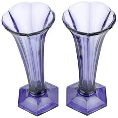 Art Deco Val Saint Lambert Set of Two Purple Vases