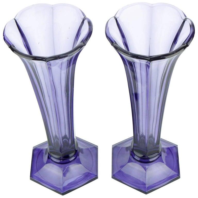 Art Deco Val Saint Lambert Set Of Two Purple Vases For Sale At 1stdibs