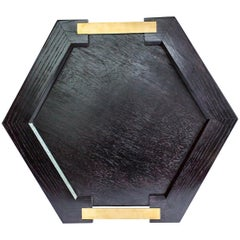 Modern Okuta Hex Hand-Carved Serving Tray in Beech and Brass