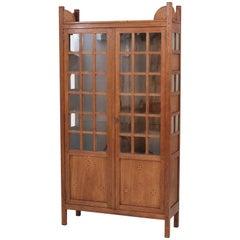 Oak Dutch Art Nouveau Nieuwe Kunst Bookcase by Jac van den Bosch, 1900s