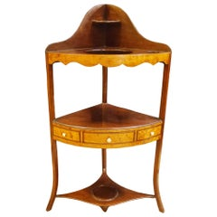 George III Mahogany and Satinwood Corner Washstand