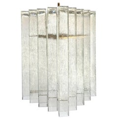 German Textural Glass Chandelier by Doria (Two Available)