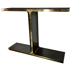 """T"" Console, Iron and Brass by Giacomo Cuccoli for M.Notte Line, Italy, 2017"