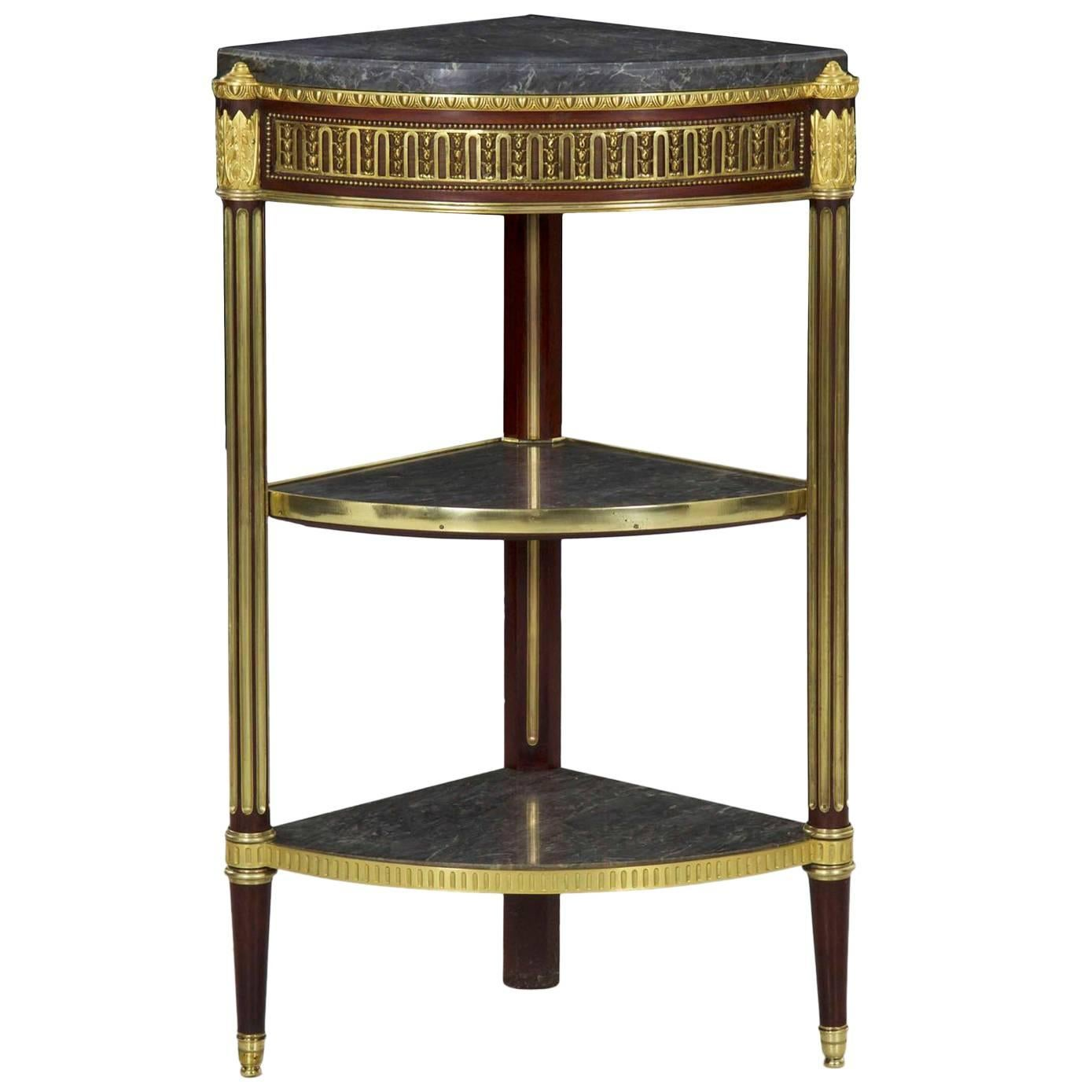 Fine French Antique Louis XVI Style Three Tier Corner Stand Side Table For  Sale