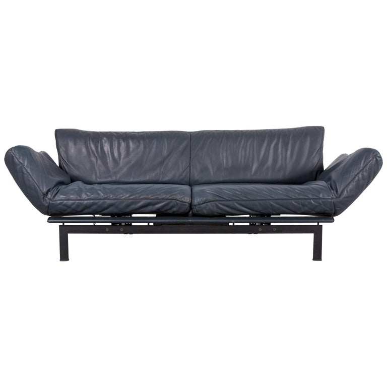 De Sede Ds 140 Designer Sofa Grey Blue Leather Three-Seat Couch For Sale