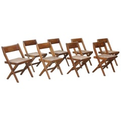 Set of Eight Bookstore Chairs by Pierre Jeanneret