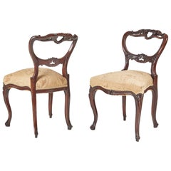 Fine Pair of French Victorian Rosewood Side Chairs