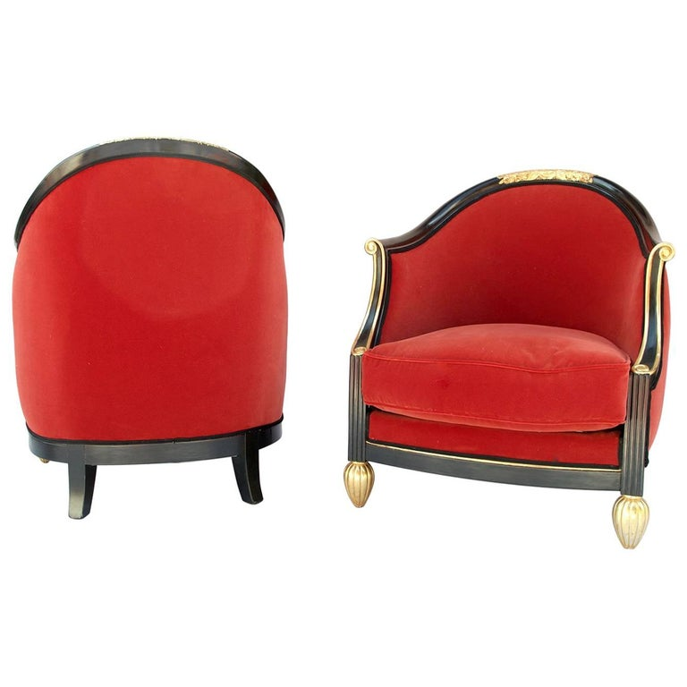 Pair of Gondole Armchairs, in the Maurice Dufrêne Style, 1920s-1930s