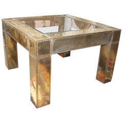 1970s Spanish Square Brass and Glass Side Table