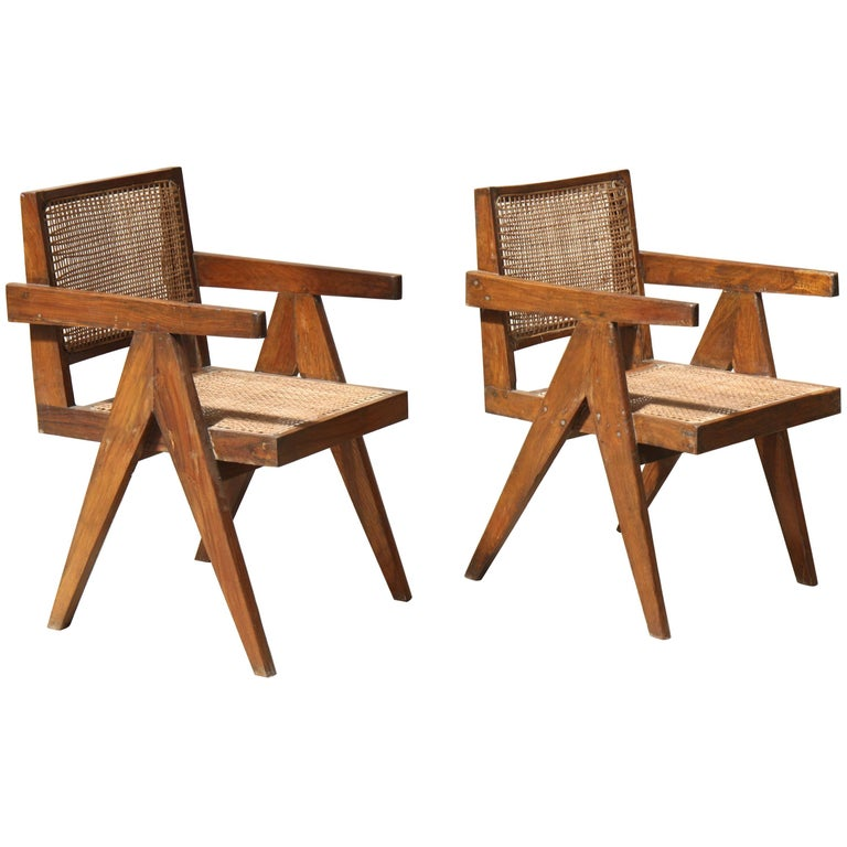 "Set of Two ""Office Cane Chairs"" by Pierre Jeanneret"