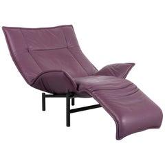 Cassina Veranda Designer Leather Armchair in Purple with Recliner Function