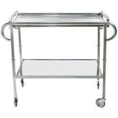 Jacques Adnet Art Deco Mirrored Bar Cart, 1930s