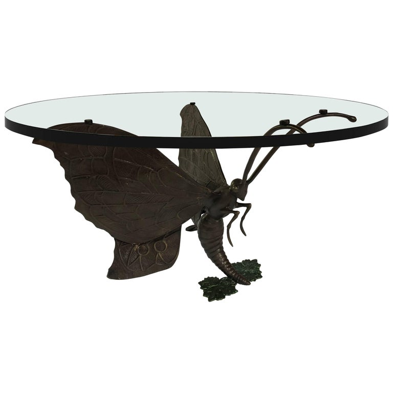 Bronze Butterfly Coffee Table Base by Jacques Duval-Brasseur