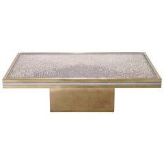 Rare Romeo Rega Brass and Chrome Coffee Table, 1970s