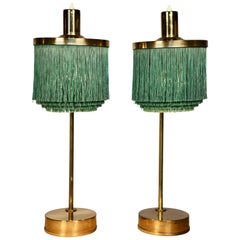 Hans-Agne Jakobsson Brass and Bottle Green Silk Table Lamps Model B-140, 1960