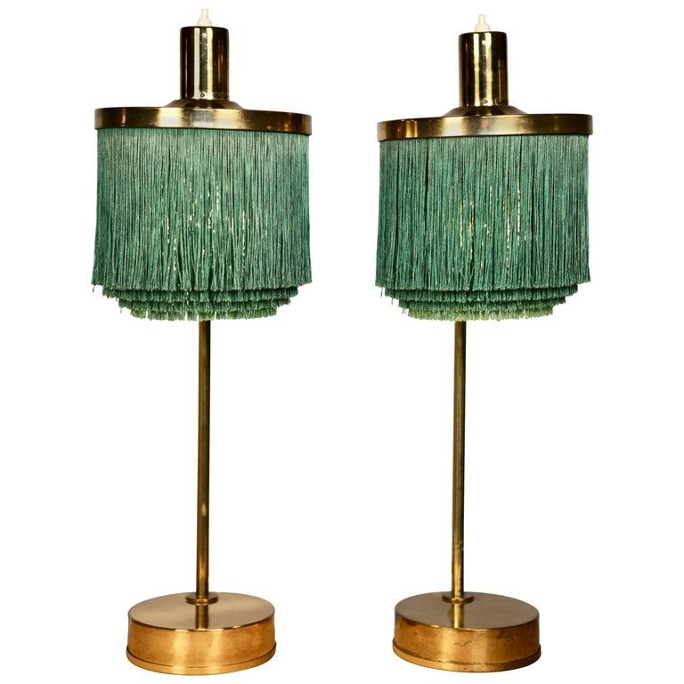 Hans-Agne Jakobsson Brass and Bottle Green Silk Table Lamps Model B-140, 1960 For Sale