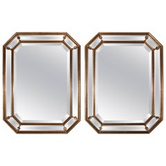 1950s Italian Gilt Octagonal Mirrors