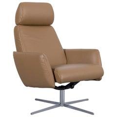 Rolf Benz Freistil 177 Leather Armchair Beige Brown One-Seat
