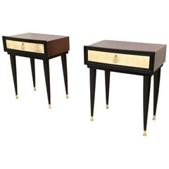 Pair of Wooden Nightstands with Parchment Drawers, Italy, 1950s