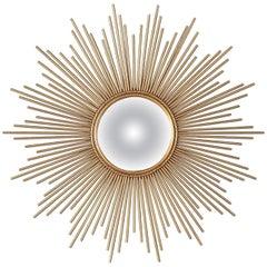 French Midcentury Gilded Metal Sunburst Mirror