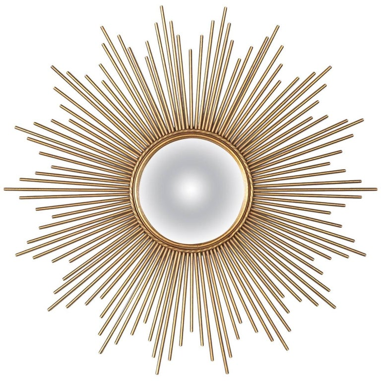 French Midcentury Gilded Metal Sunburst Mirror For Sale