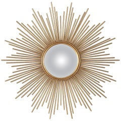 French Gilded Metal Sunburst Mirror, Late 20th Century