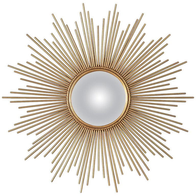 French Gilded Metal Sunburst Mirror, Late 20th Century For Sale