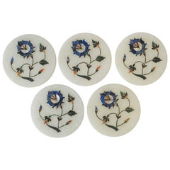 Set of Vintage White Granite Marble Coaster Set with Inlay Design