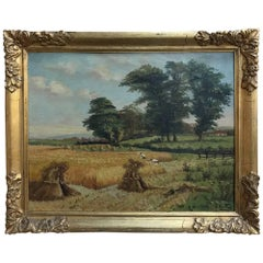 Antique Framed Country French Oil Landscape Painting on Board by S.Suttiers