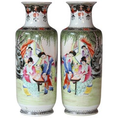 Pair of Chinese Porcelain Famille Rose Qianlong Vases Lamp Matched Old Mark