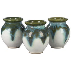 Set of Three Glazed Ceramic Pottery from Digoin, 1960s