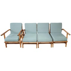 Vintage Four-Piece Bamboo and Rattan Seating Arrangement