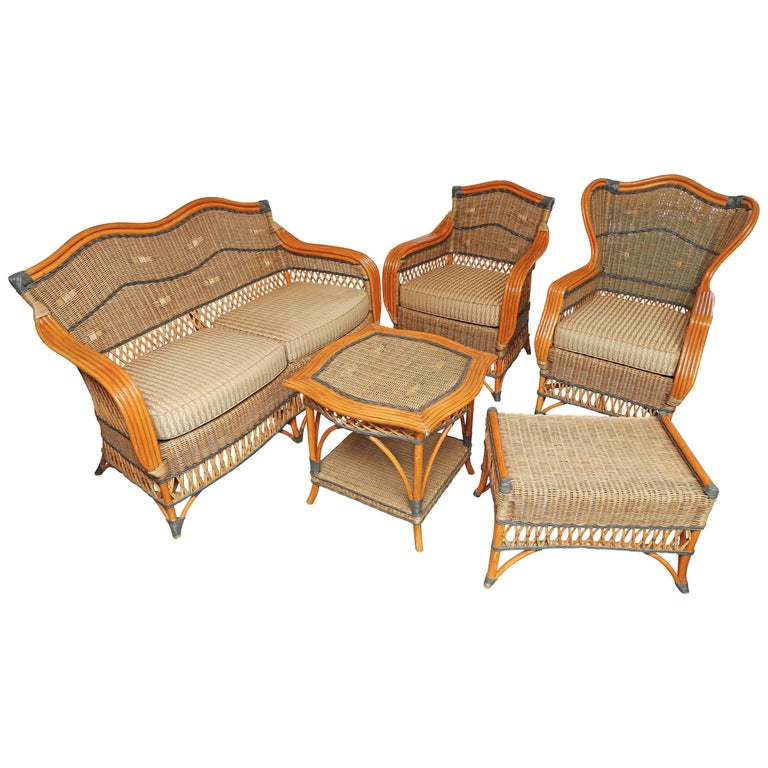 French Vintage Five-Piece Wicker Porch Set by Grange