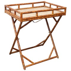 Vintage Bamboo Butler's Tray Table on Stand