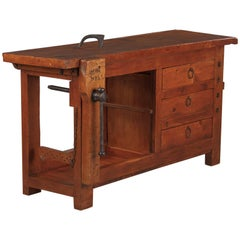 French Carpenter's Workbench in Elm, 1950s